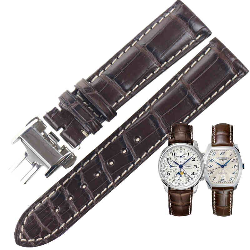 ISUNZUN Watch Band for Longines L2 L4 Watch Strap Crocodile skin Watchband Genuine Leather Brand Durable Exquisite Bracelet недорго, оригинальная цена