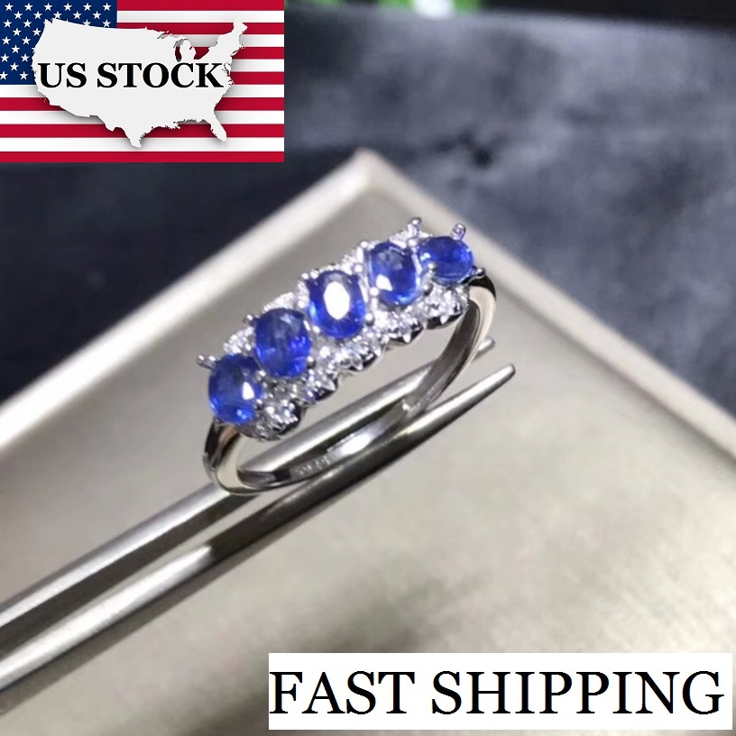 US STOCK Uloveido Natural Sapphire Ring Women 925 Sterling Silver Wedding Jewelry 5 7mm 5 Pcs