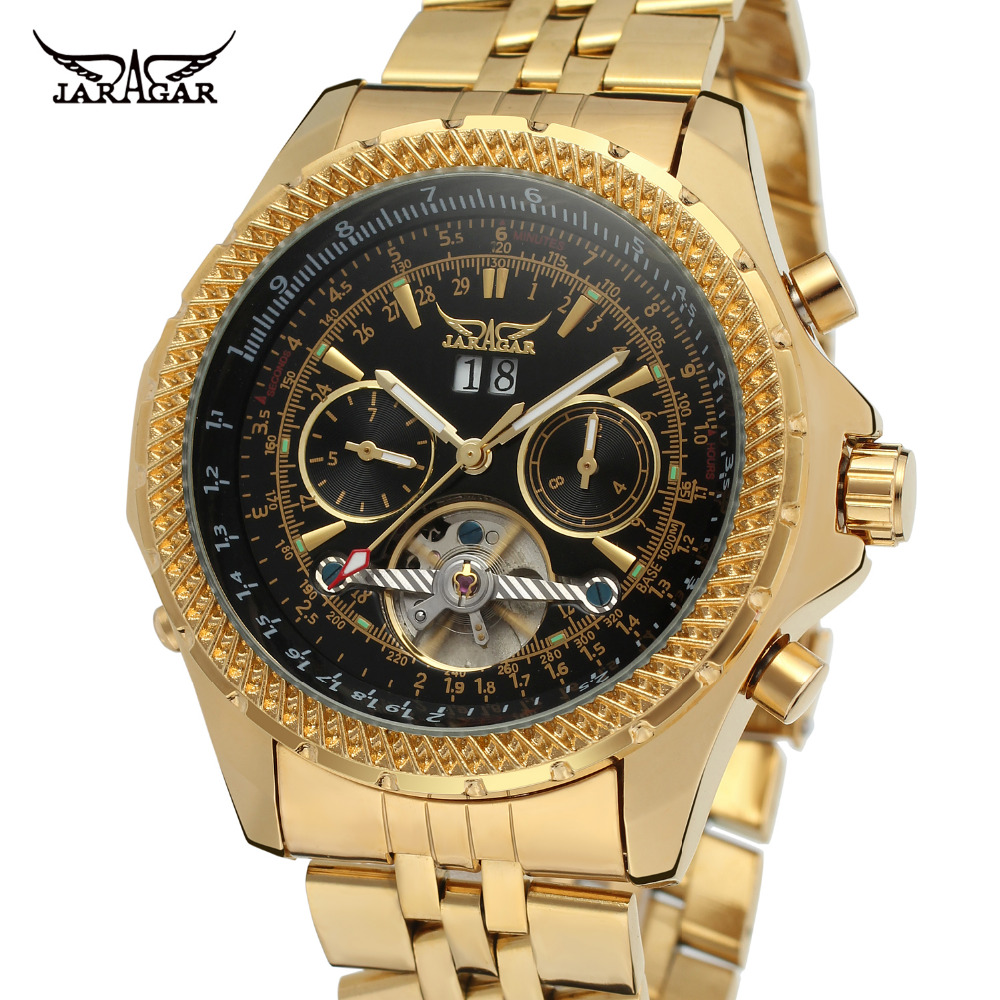 лучшая цена Forsining Men's Watch Brand Automatic Movt Complete Calendar Brass Band Tourbillion Wristwatch Color Black JAG070M4