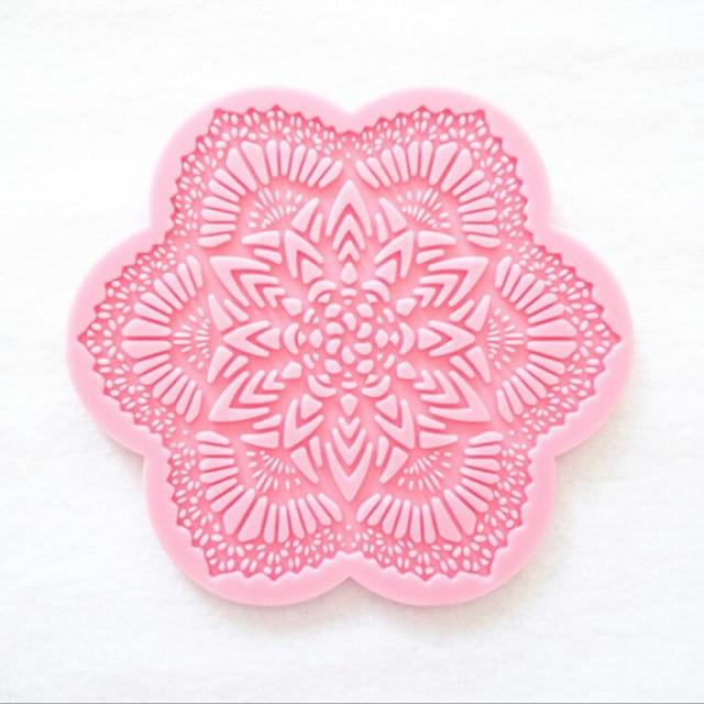 nouveau silicone dentelle gâteau moule hexagone glace pad fondant