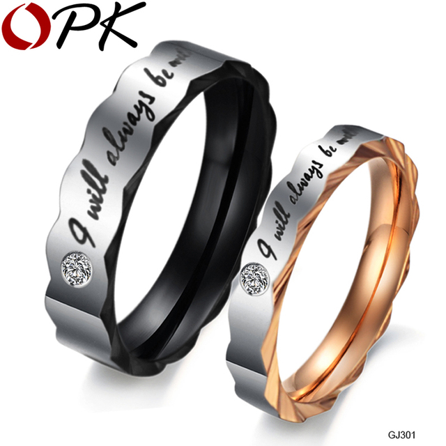 OPK JEWELRY Romantic Stainless Steel Couple Ring for Wedding Unqiue Design His and Her Promise Ring Valentine's Day Gift, GJ301