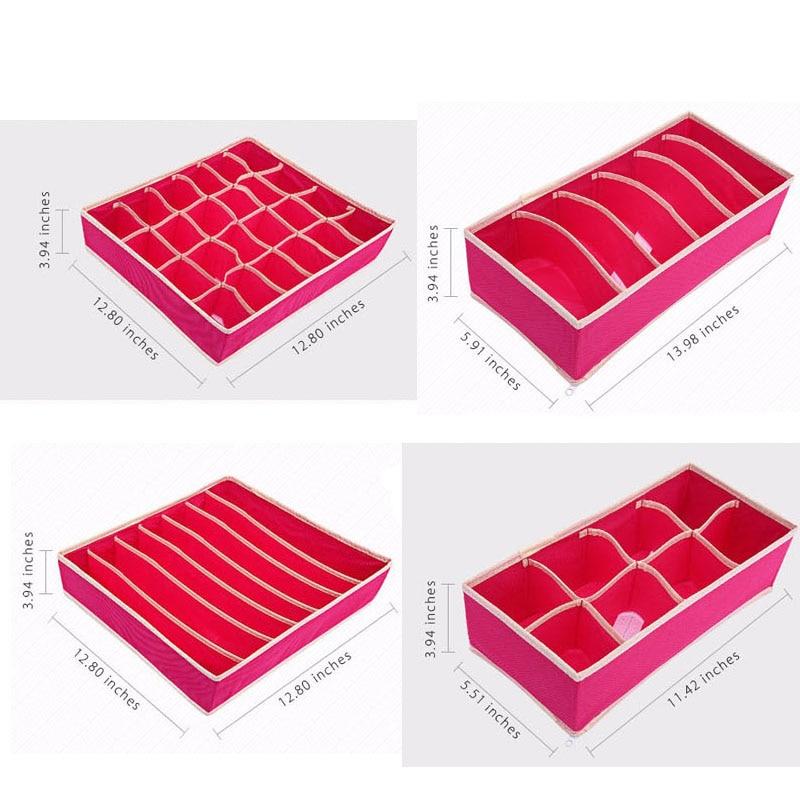 4 Pcs Underwear Bra Organizer Storage Box 2 Colors Beige/Rose Drawer Closet Organizers Boxes For Scarfs Socks Bra