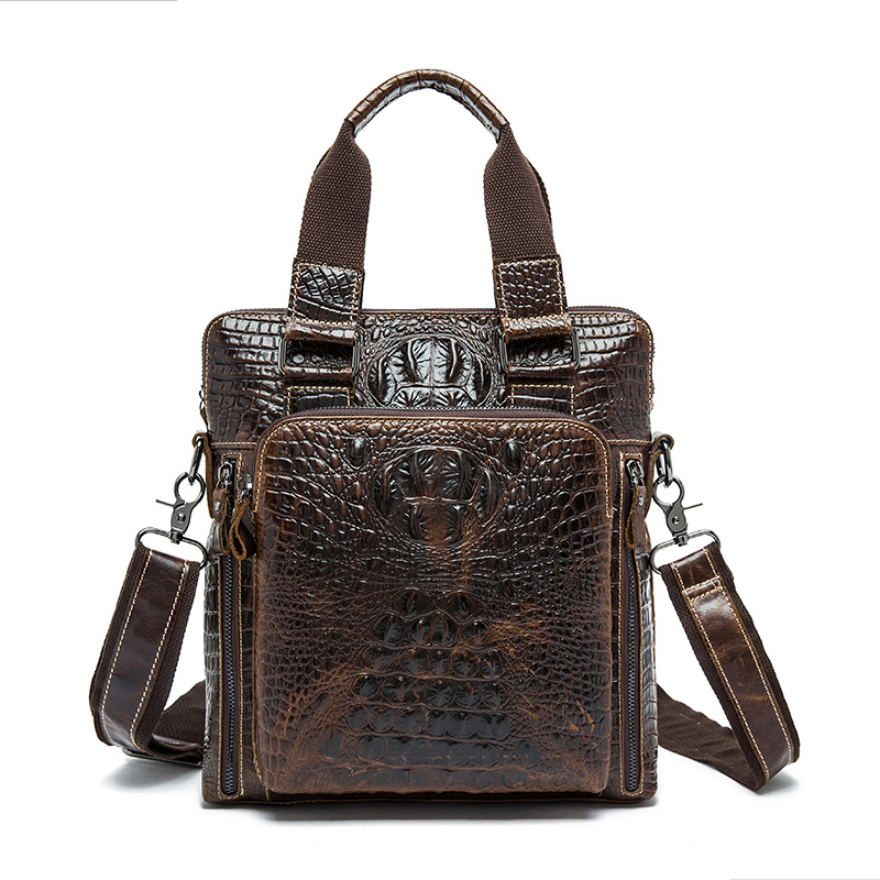 Fashion Business Genuine Leather Men Shoulder Bags Crocodile Embossed Leather Upright Brown Zipper Closure Men Handbags портмоне mano business 19008 19008 brown