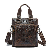 Fashion Business Genuine Leather Men Shoulder Bags Crocodile Embossed Upright Brown Zipper Closure Handbags