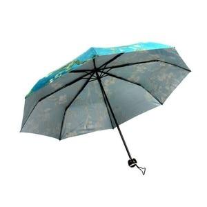 Image 4 - Vincent Van Gogh Umbrella Almond Blossom Oil Painting 8 Rib Wind Resistant Frame For Women Portable Three Folding Art Umbrella