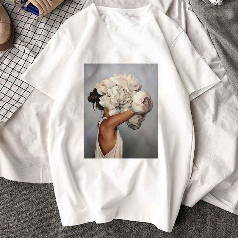 הגעה חדשה Harajuku אסתטיקה Tshirt סקסי פרחי נוצת הדפסה קצר שרוול חולצות & Tees אופנה זוג מזדמן T חולצה