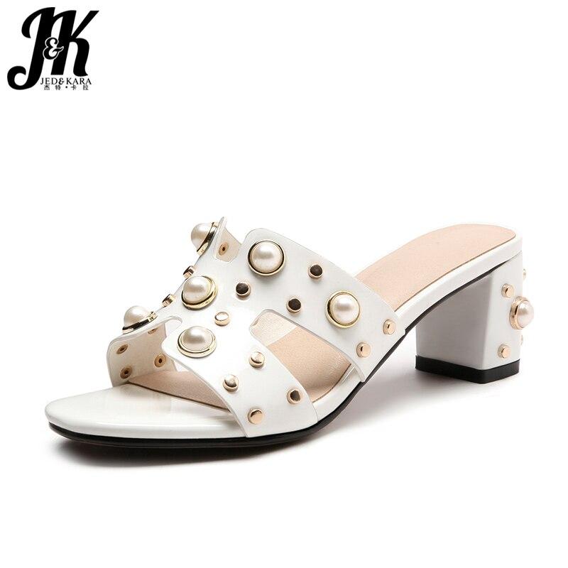 JK 2018 летние женские тапочки на высоком каблуке с открытым носком украшения из металла Босоножки на каблуках Перл обувь модная повседневная ...