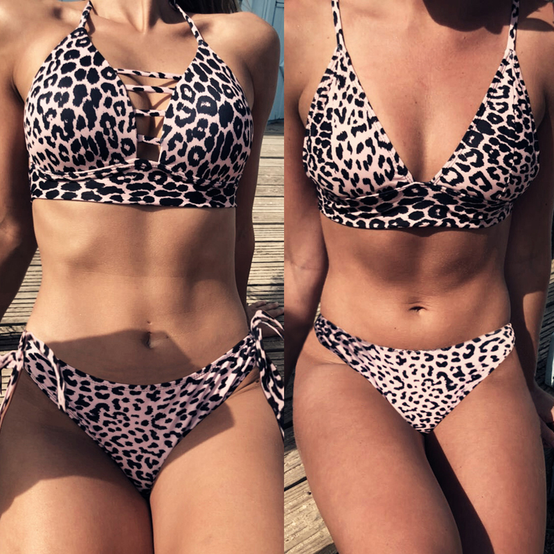 LASPERAL Women Sexy   Bra     Set   Intimates Fashion Leopard Print Lingerie Casual Push Up Low Waist Swimwear Lace Up Underwear   Set