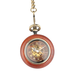 Image 4 - Vintage Red Wooden Case Mechanical Pocket Watch Chain Automatic Self wind Watches Fob Open Face Unisex Clock Gifts for Men Women