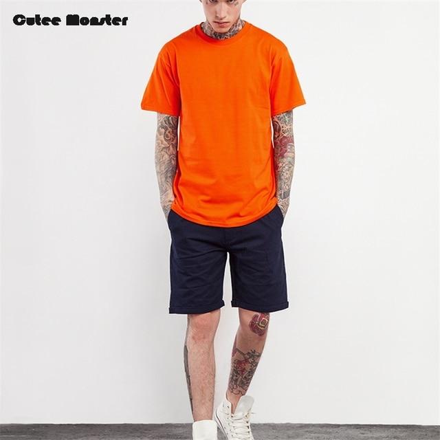 d12db4cefc6 Orange T-Shirt Men 2018 Fashion Solid T shirt Male Summer Short Sleeve Tee  Casual Outwear Hip hop Streetwear Top Clothing 3XL