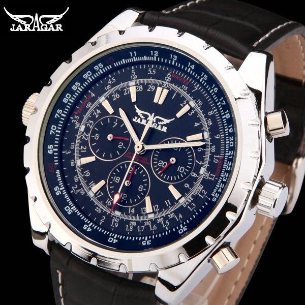 купить JARAGAR Men Luxury Brand Watch 6 Hands 3 sub-dials Military Leather Band Automatic Mechanical Wristwatches Gift Box 2016 New недорого