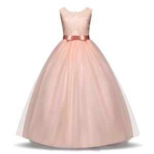 5-14 Years Summer Children Party Elegant Dress For Girl Lace Bow Sleeveless Princess Dresses White Wedding Bridesmaid Prom Dress