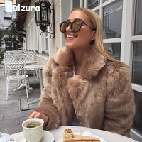 Winter Calling Women Faux Fur Coat Fabulous Fashion Turn Down Collar Faux Fox Fur Outerwear Thicken Warm Winter Jackets Overcoat