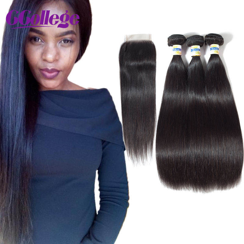 Perui Straight Remy 3 csomók bezárása 100% -os emberi hajcsomagok - Emberi haj (fekete)