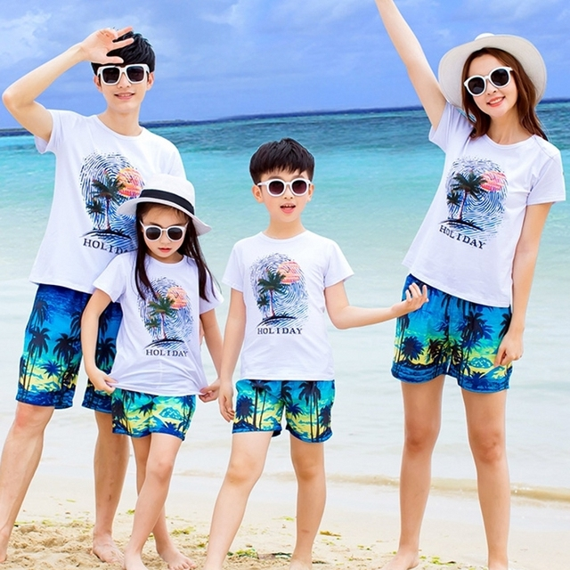 d9698c05 Free Shipping Family Outfits clothing Holiday Summer woman girl man boy  Sets cotton White short sleeve T shirt & Shorts coconut