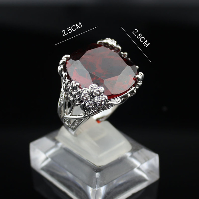 Fashion big red crystal ring hollow out flowers women ring top quality genuine Austria CZ crystal for woman Engagement rings