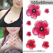 Body Art Waterproof Temporary Tattoos For Men And Women Small Fresh Red Flower Design Tattoo Sticker RC2266