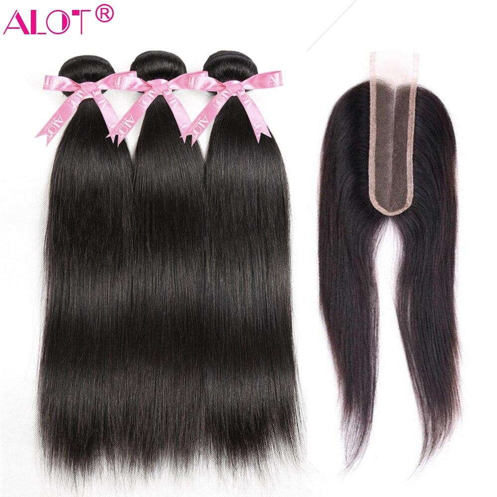 Brazilian Straight Hair Bundle With Closure 3 Bundles Human Hair Weave 2x6 Middle Part Lace Closure With Bundles 4 Pcs Non Remy