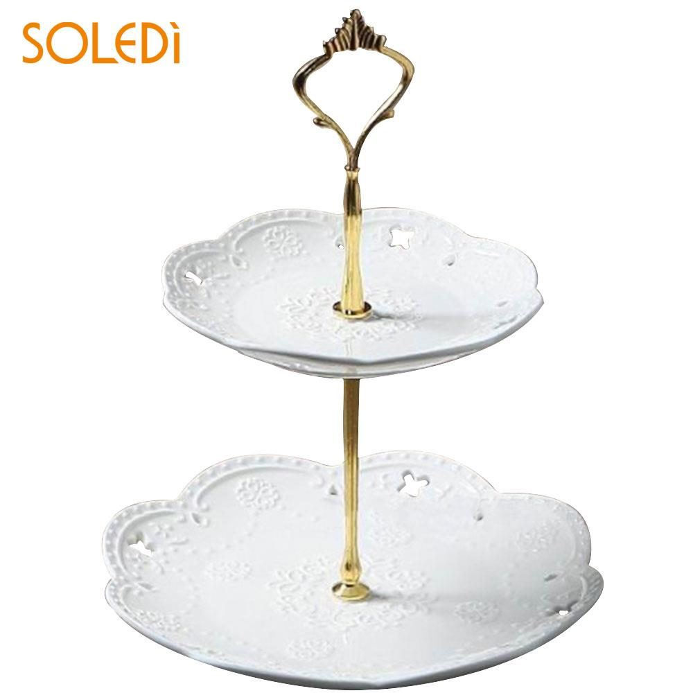 Металлическая подставка для торта с короной для свадебной вечеринки, посуда для выпечки, подставка для торта, 2/3 - Цвет: two layers gold