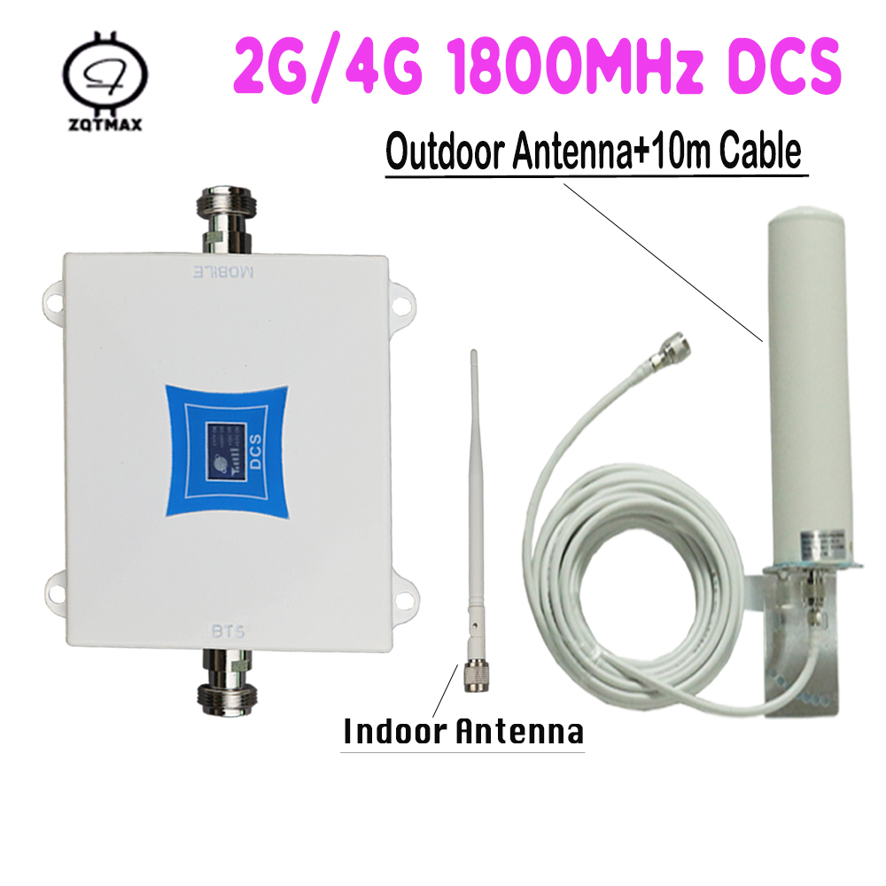 ZQTMAX LTE 1800 2g 4g Cellular Signal Amplifier Gsm Cell Phone Signal Repeater DCS 1800MHz Signal Booster 12dBi 4g Antenna