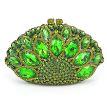 New Design Peacock Shape Evening Bag Green Stone Crystal Luxury Clutch Bag Diamond Ladies Handbags Party Purse Wedding Bag 88151