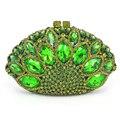 Novo Design Forma de Pavão Noite Saco Verde Pedra De Cristal De Luxo Diamante Saco De Embreagem Senhoras Bolsas Festa Bolsa Casamento Saco 88151