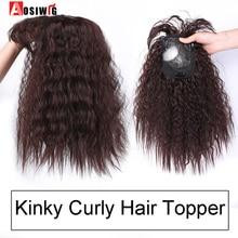 AOSI синтетические Toupees волосы Топпер шиньоны Черный Коричневый жаростойкий кудрявый Топ натуральный зажим с челкой закрытие женщины