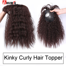 AOSI  Synthetic Toupees Hair Topper Hairpieces Black Brown Heat Resistant Kinky Curly Top Natural Clip With Bangs Closure Women