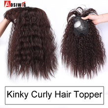 AOSI Synthetic Toupees Hair Topper Hairpieces Black Brown Heat Resistant Kinky Curly Top Natural Clip With Bangs Closure Women(China)