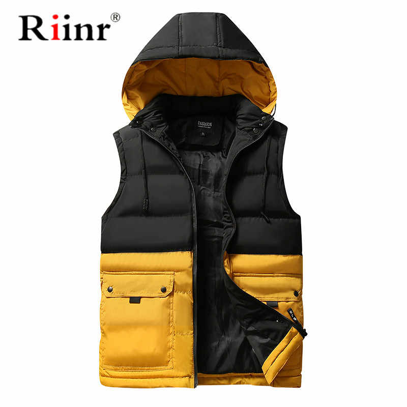 Riinr Mens Vests Spring Winter Mens Fashion Sleeveless Jackets Male Cotton-Padded Vests Men Thicken Brand Waistcoats 4XL