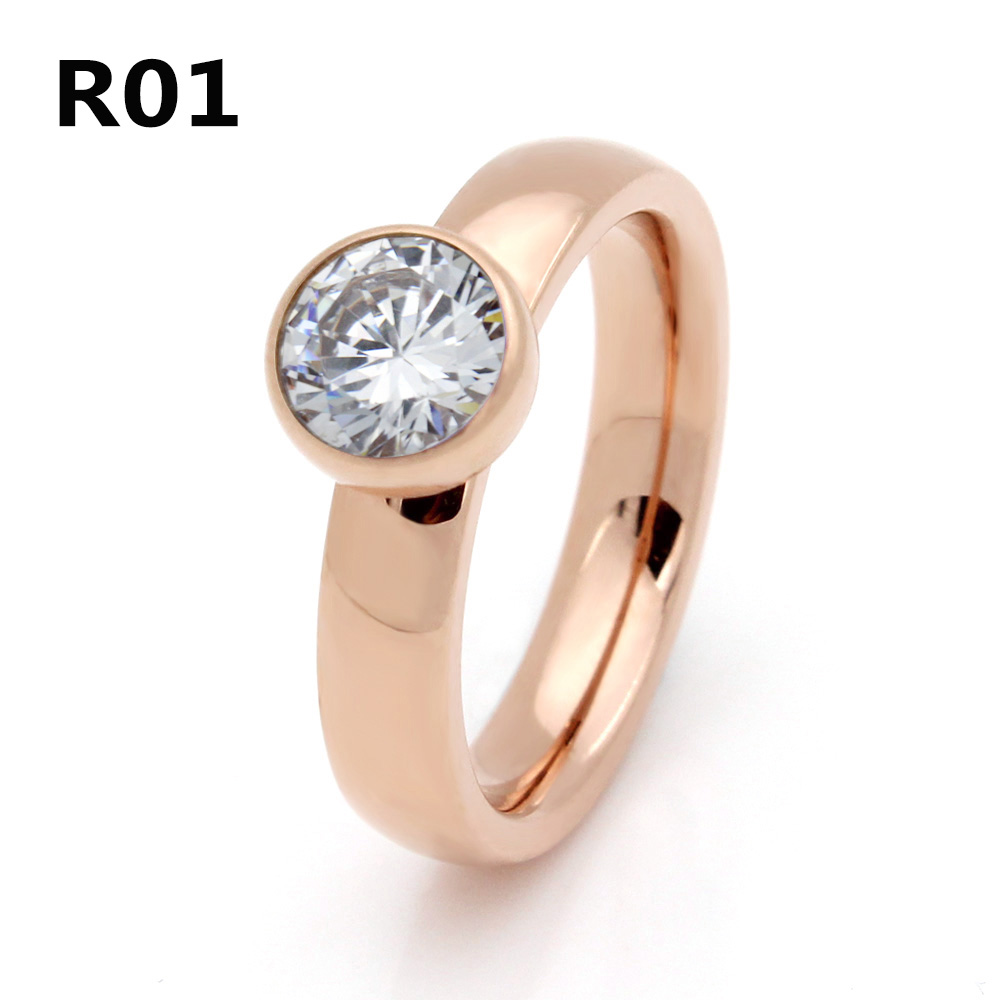 2017 Fashion Jewelry Stainless Steel Plated Rose Gold Big Crystal Ring For Wedding Promotion Cant Move R001