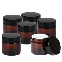 6pcs 2 Oz 50g Round Amber Glass Jar Straight Sided Cream Jars w/ black plastic lid cap & inner liner empty cosmetic containers