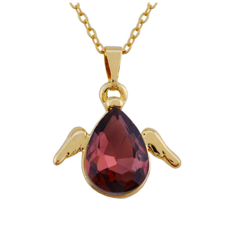 N110 skrzydła anioła naszyjnik z kryształowych kropel złoty i srebrny kolor biżuteria naszyjnik dla alergików naszyjnik akcesoria mody