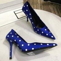 Горошек шелковые туфли пикантные на высоком каблуке с зауженным мыском плюс Размеры весна лето мода Вечерние свадебные женские туфли шпиль