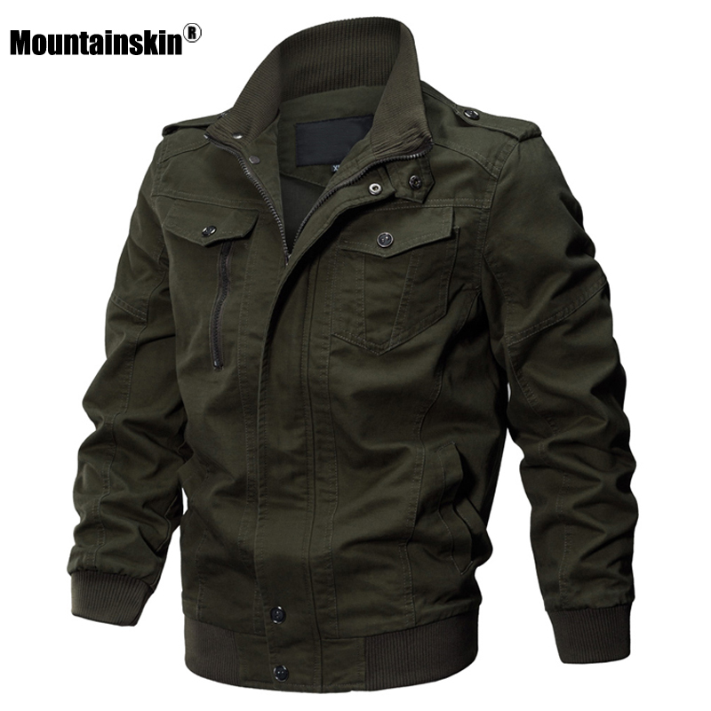 Mountainskin 2020 Autumn Spring New Men's Jackets Military Solid Casual Coats Fashion Slim Fit Male Brand Clothing 6XL SA731 2