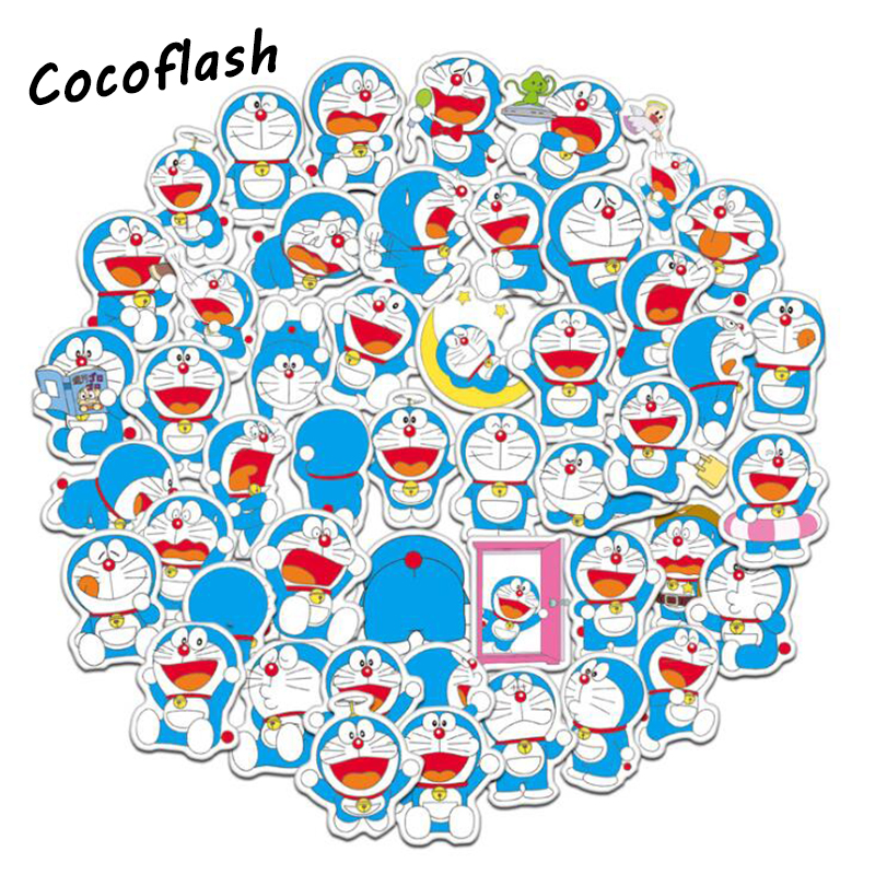 61pcs/lot Cute Doraemon Sticker Scrapbooking Childbaby For Suitcase Laptop Guitar Luggage Skateboard Waterproof Toy Stickers