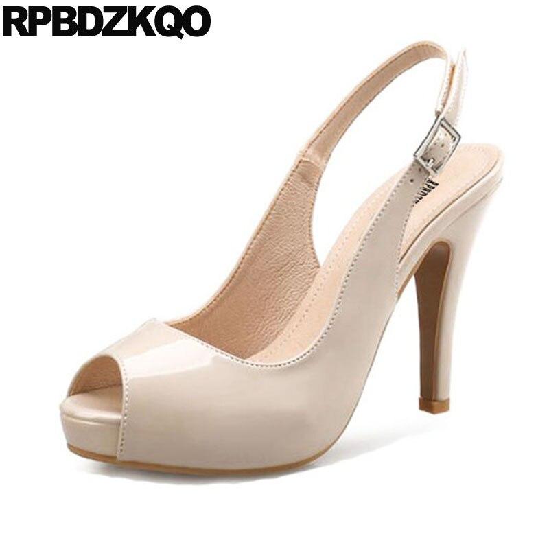 Nude Peep Toe Slingback Big Size Shoes