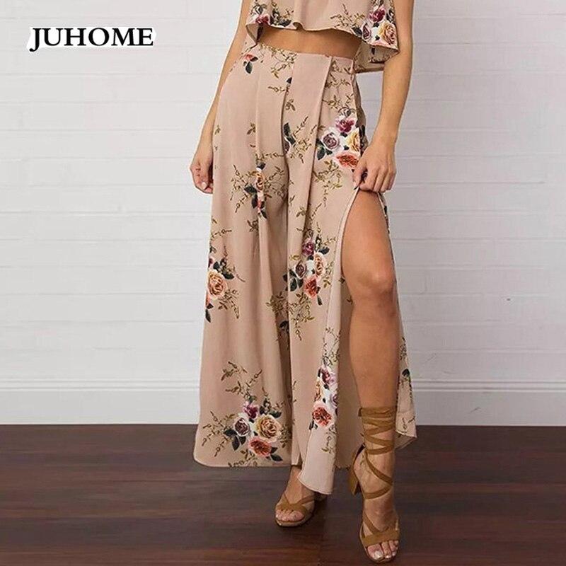 Plus Size 6xl 5XL 4xl 3xl 2018 Women Casual Loose   Wide     Leg     Pants   Vintage beach Trousers Casual Chiffon large size Long   Pants