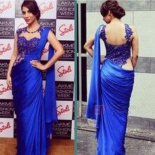 Arabische Indischen Frauen Abendkleider 2017 Sexy Royal Blue Mermaid Applique Sheer Wrap Party Formales Abschlussball-kleider Partei Saree