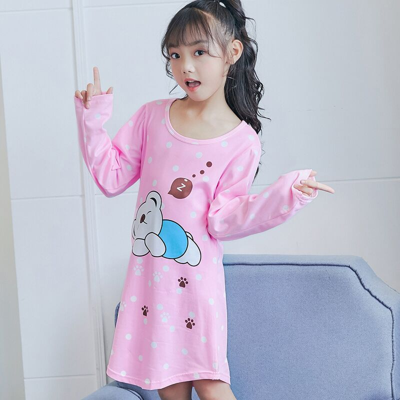 2018 Autumn Girls Nightgown Long Sleeve Pajamas For Girl -9243