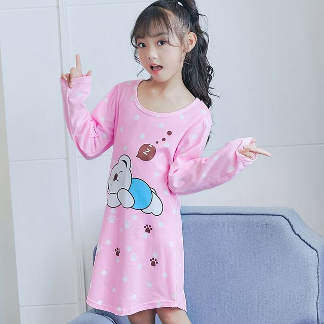 2018 Autumn Girls Nightgown Long Sleeve Pajamas For Girl Children ...