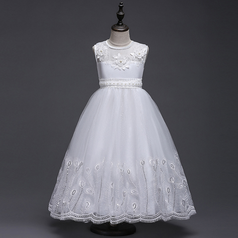 Flower Girls Party Dresses 3-12 years Girl Formal white Elegant Tutu Birthday Princess Dress Teenage Kids Wedding Clothing elegant white flower girl dresse light pink girls tutu dresses with pearls flower baby girls dresses for wedding party birthday