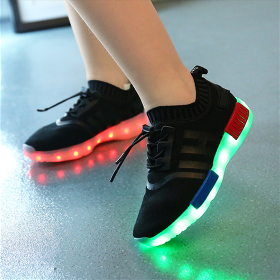 Luminous Sneakers Casual Shoes Glowing Led Footwear Luminous Shines Breathable Casual Girls Usb Led Shoes 2017 Spring 50Z0071 new led glowing sneakers kids shoes 7 colors usb charge luminous sole with cute wings sneakers light up children shoes