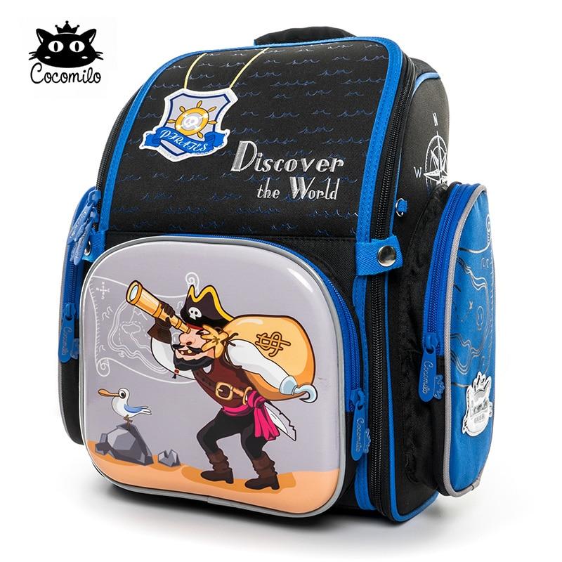 Cocomilo 2018 School Bags For Boys Girls Cartoon Backpack Pirate Pattern Children's Orthopedic Schoolbag Mochila Infantil недорого