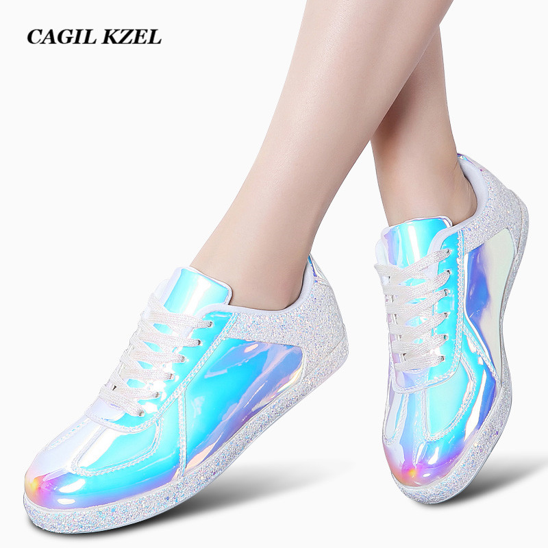 CAGILKZEL Sneakers Footwear Girls Flats Vogue Informal Outside Strolling Footwear Girl Lace-up Gold Glitter Women Footwear Zapatos Mujer Girls's Flats, Low-cost Girls's Flats, CAGILKZEL Sneakers Footwear Girls Flats Vogue...