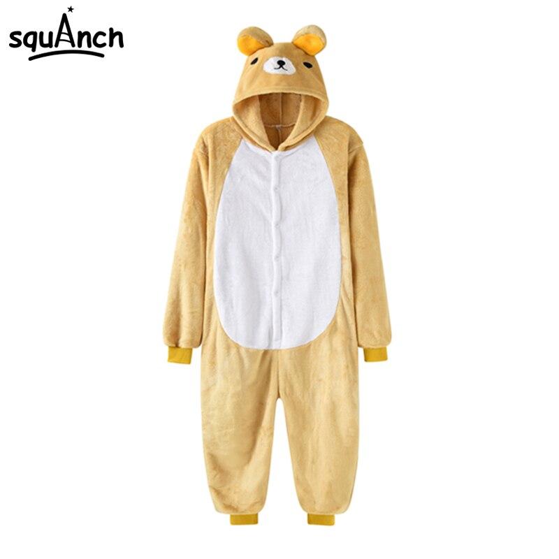 Rilakkuma Bear Cosplay Costume Adult Men Women Cartoon Animal Pajama Suit Yellow Warm Thick Onepiece Festival Kawaii Home Wear