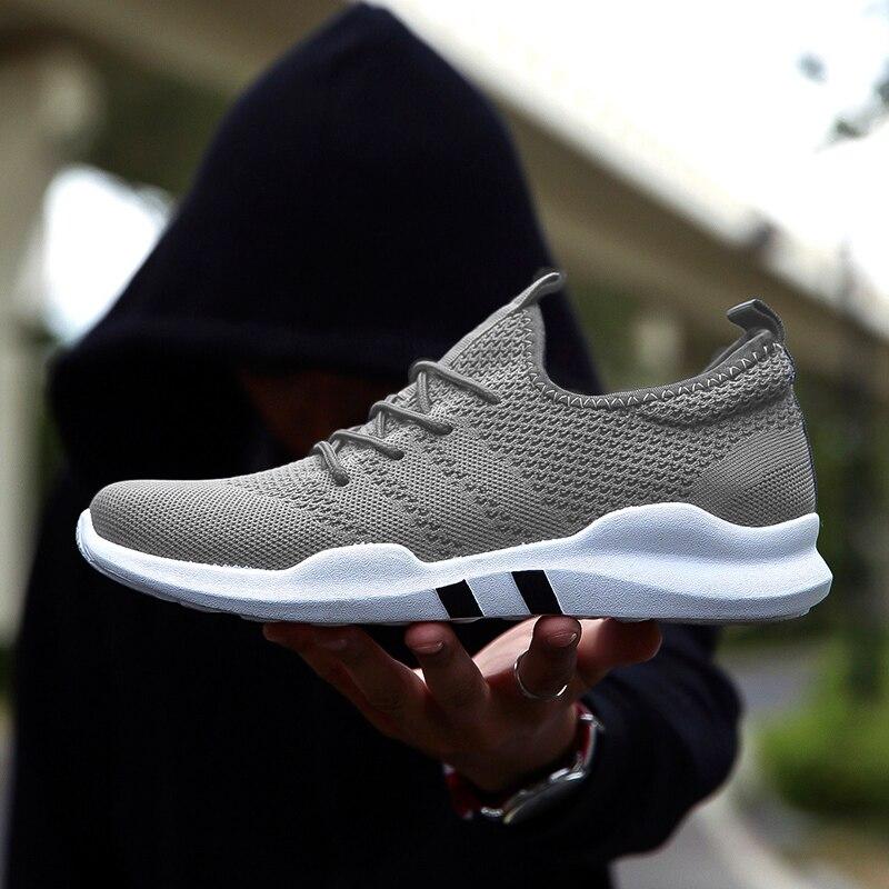 Горячая бренд мужчины обувь Легкие дышащие кроссовки Slip-on повседневная обувь для взрослых; модная обувь; Zapatillas Hombre черный