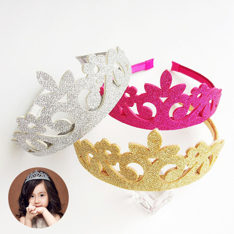 New Lovely Princess Crown Headband Glitter Felt Vintage Gold Silver Tiara Birthday Gift font b kids