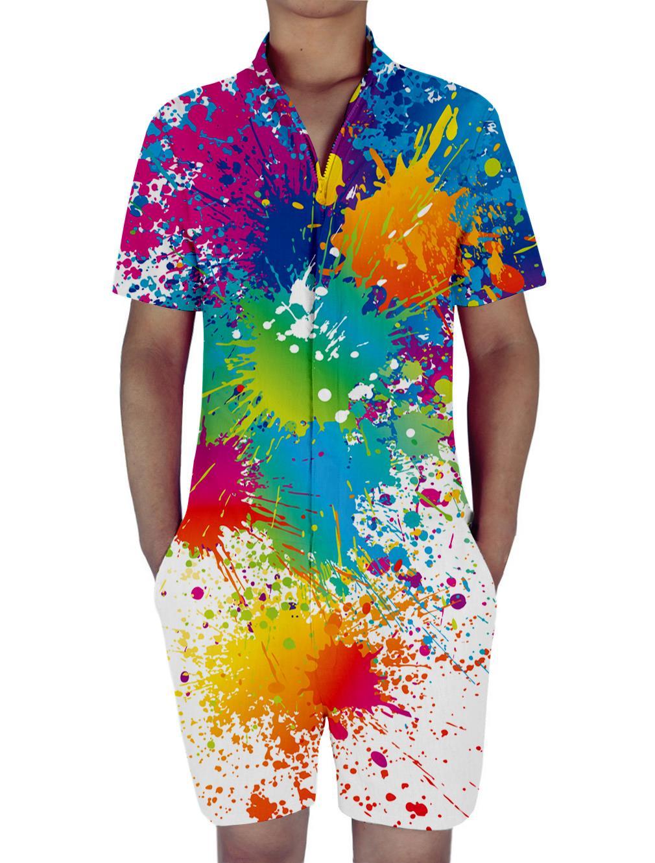 Funny Color Graffiti Print 3D Rompers Men Jumpsuit Playsuit Harem Cargo Overalls Summer One Piece Casual Zipper Beach Men's Sets