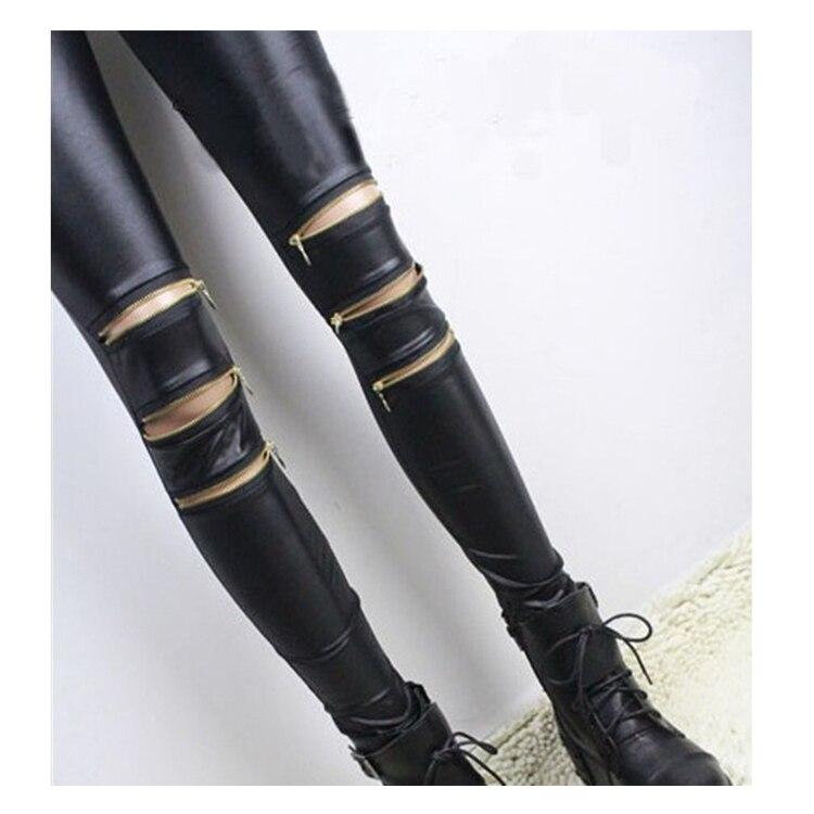 2019 Women   Leggings   with three zippers patchwork leggins punk rock trousers Skinny pants